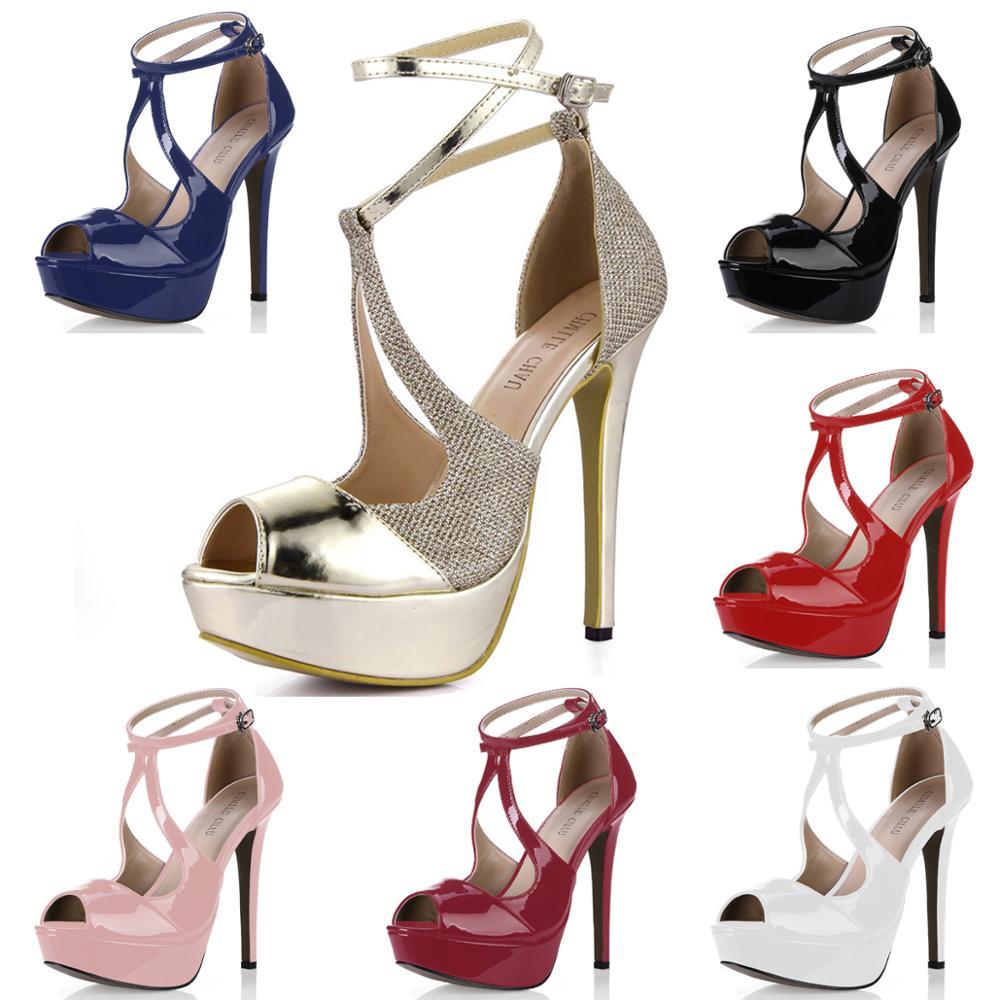 حذاء نسائي مثير للحفلات من الجلد الصناعي اللامع بلون ذهبي من chmill CHAU حذاء نسائي بمقدمة مفتوحة وكعب ستيليتو وحزام للكاحل صندل ذو نعل سميك Zapatos Mujer 3463SL Q1|platform sandals|platform strap sandalsankle strap sandals - AliExpress