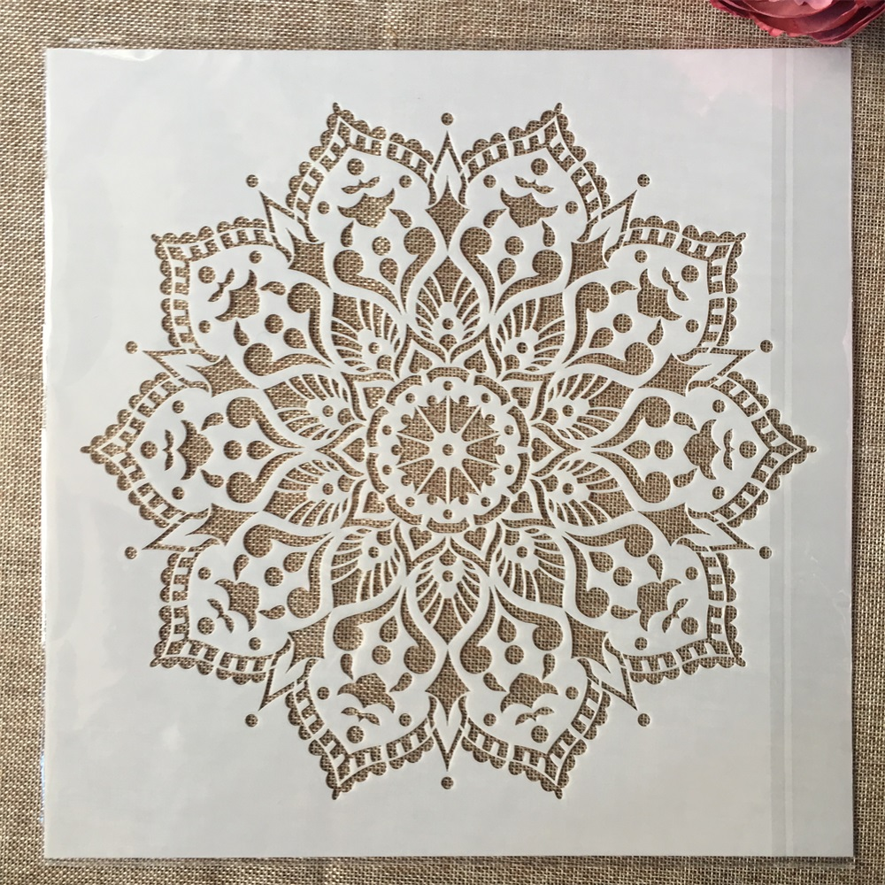 12*12inch Geometry Mandala Lotus DIY Layering Stencils Painting Scrapbook Coloring Embossing Album Decorative Template