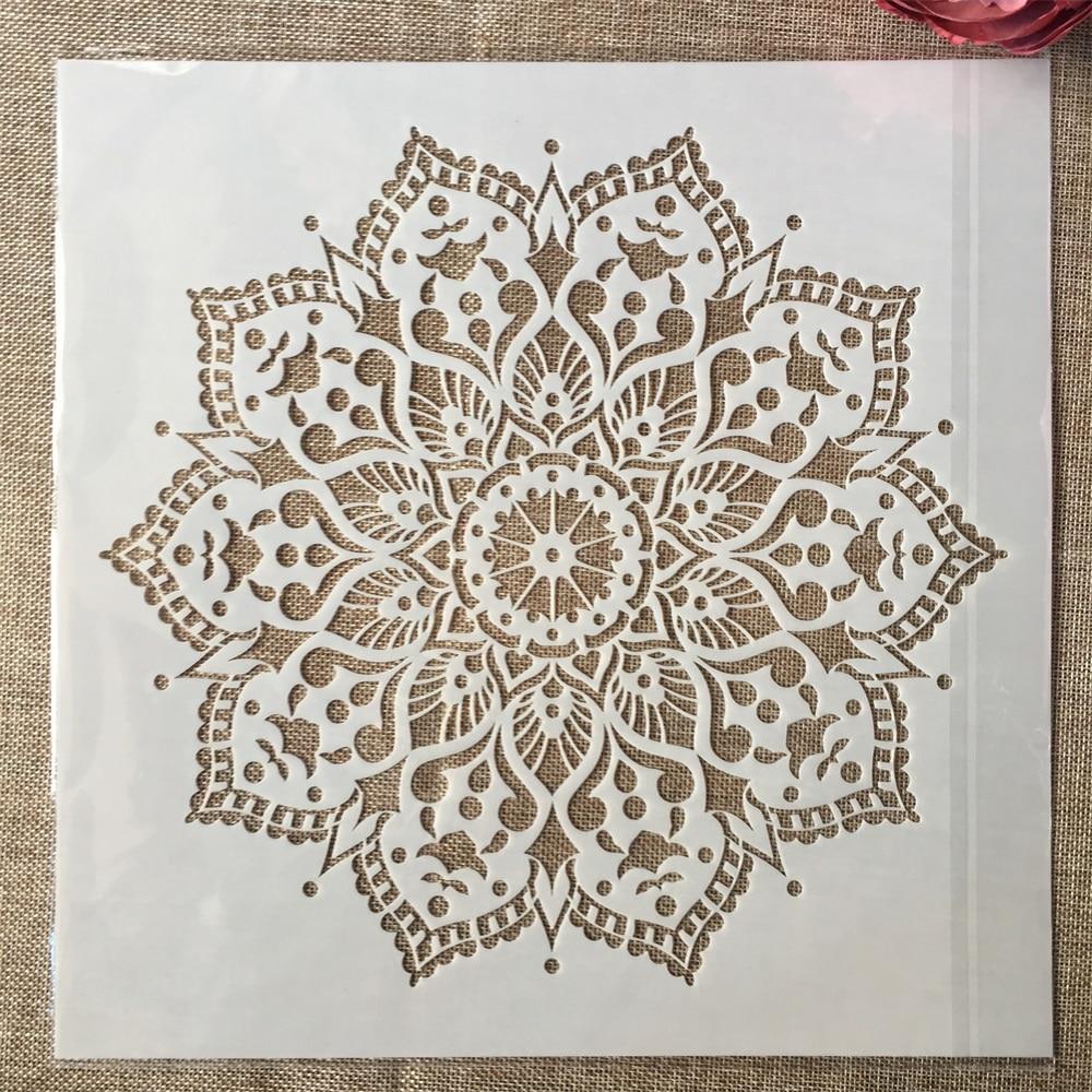 12*12inch Geometry Mandala Lotus DIY Layering Stencils Painting Scrapbook Coloring Embossing Album Decorative Template