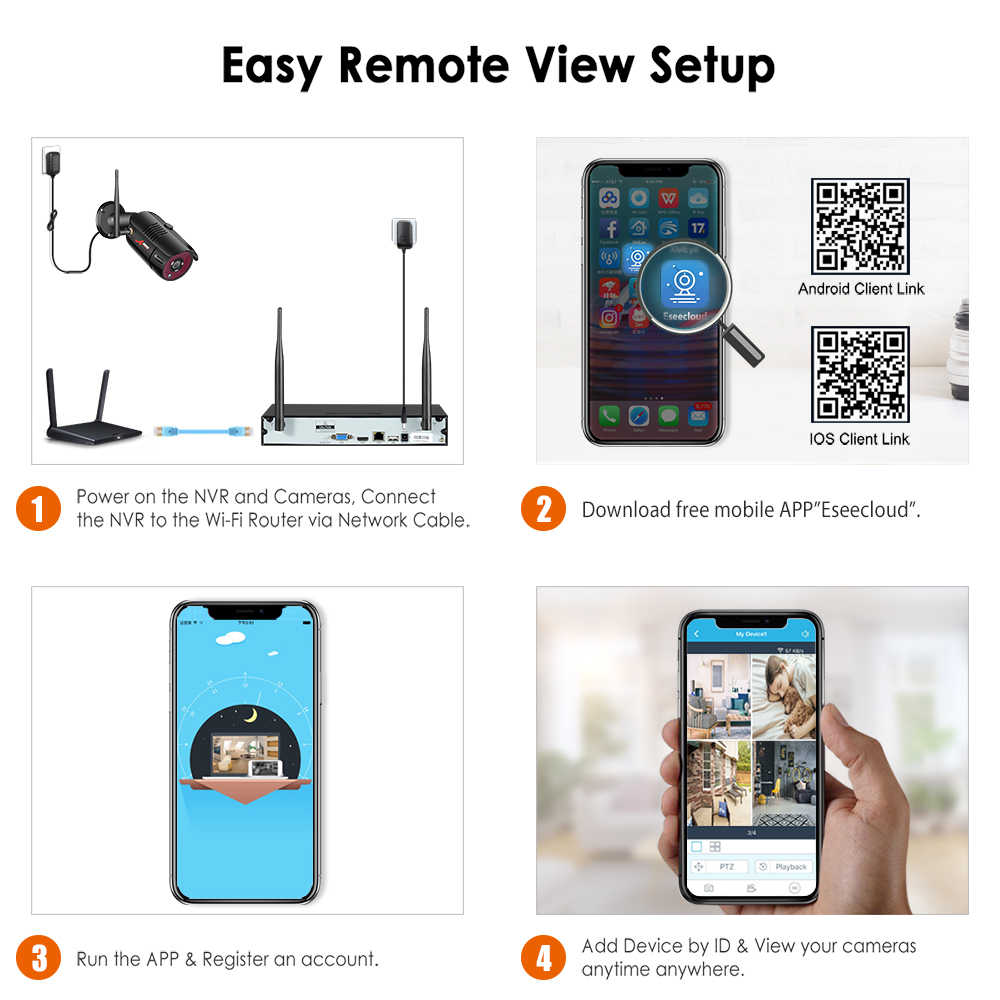 ANRAN 1080P bezprzewodowa kamera do monitoringu zestaw 4CH System NVR Night Vision zewnętrzne Wifi kamera monitorująca System wideo cctv zestaw