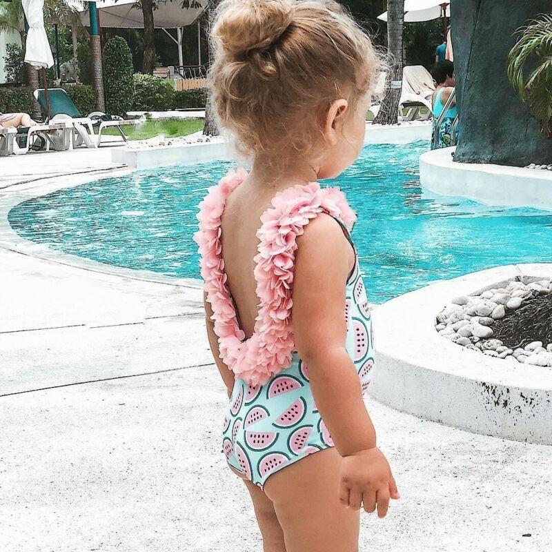 2020 New Toddler Girls Watermelon Swimsuit One-piece Floral Swimwear Summer Beach Infant Baby Cute Backless Bikini Bodysuit