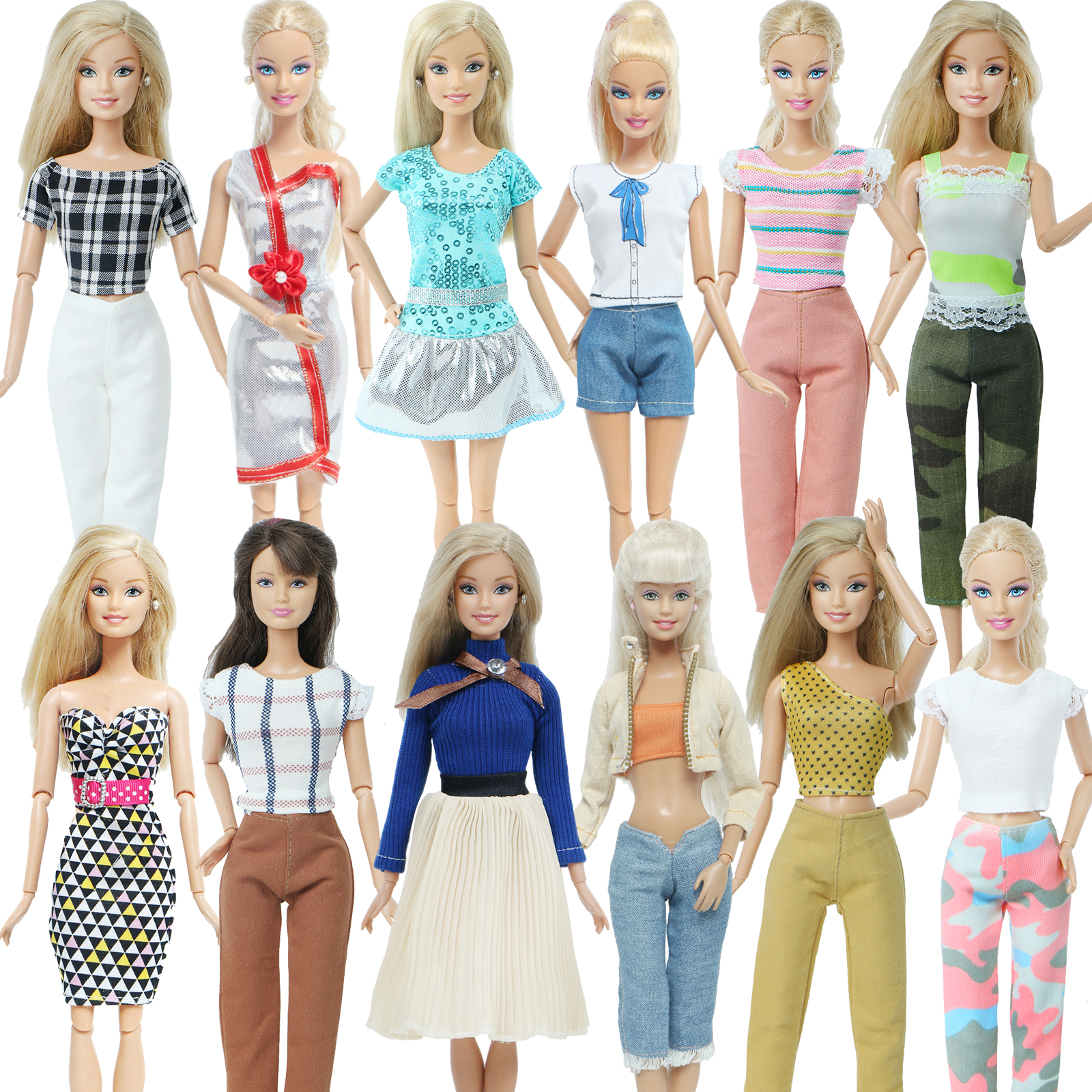 Handmade Clothes for Bar Doll Clothes Dresses for Barbie Girl Dolls 10 Pcs Lot