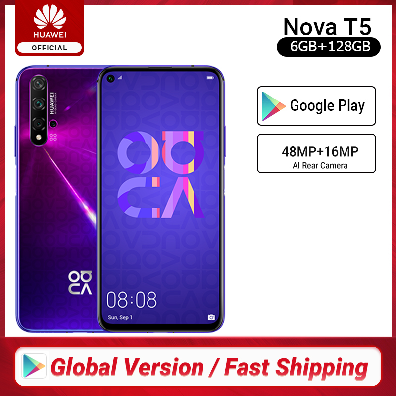 Versión Global HUAWEI Nova 5t Kirin980 Octa Core Smartphone 48MP cámaras 32MP cámara frontal del teléfono móvil 6,26