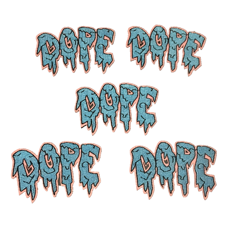 2019 New Small Dripping DOPE Embroideried iron on Patches for Clothes Jacket Shoes Letters Embroidery Applique 10 Pieces/lot