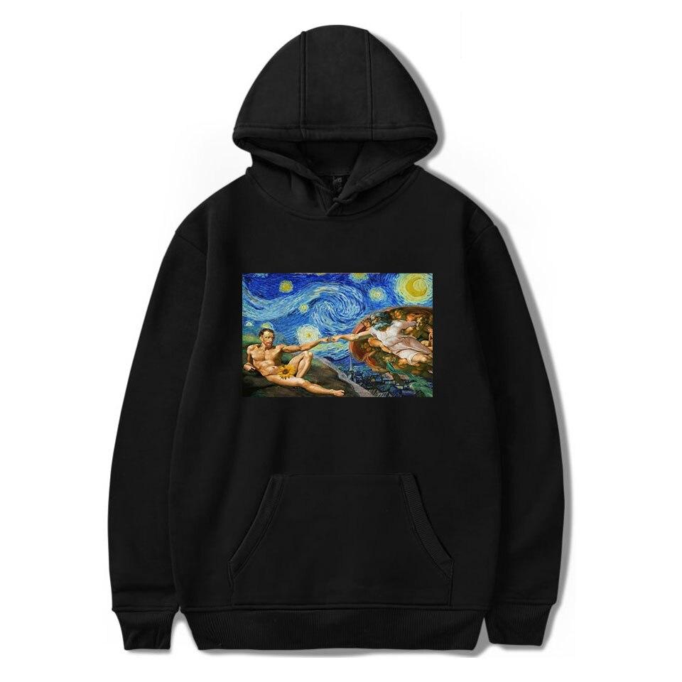 TJ Garment Michelangelo Hoodies Sistina Harajuku Ulzzang Art Hoodies Van Gogh Tee Shirt Femme Clothes Long Sleeve Hoodies