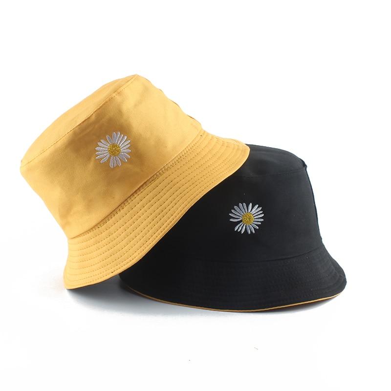 2020 Spring Women Fishing Bucket Hats Summer Sunscreen Sun Cap Flower Daisies Embroidery Reversible Fisherman Hat