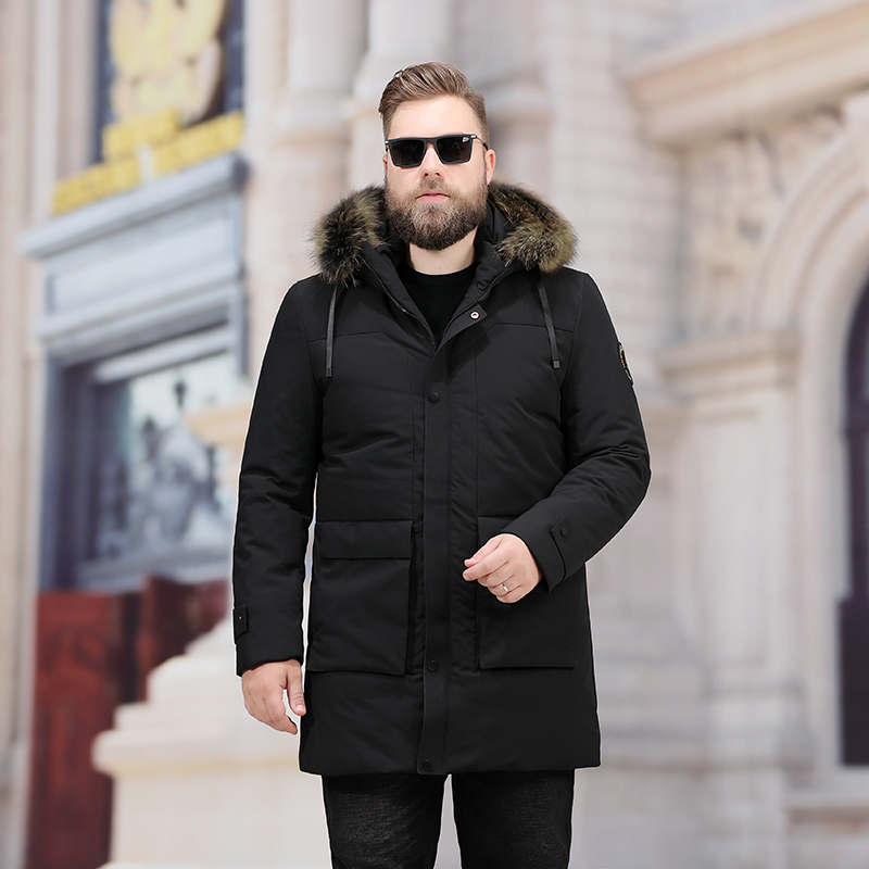 Big Plus Size 8xl 7xl Men's Leisure Down Jacket Winter Thick Hood Detached Warm Waterproof Big Raccoon Fur Collar Down Jacket