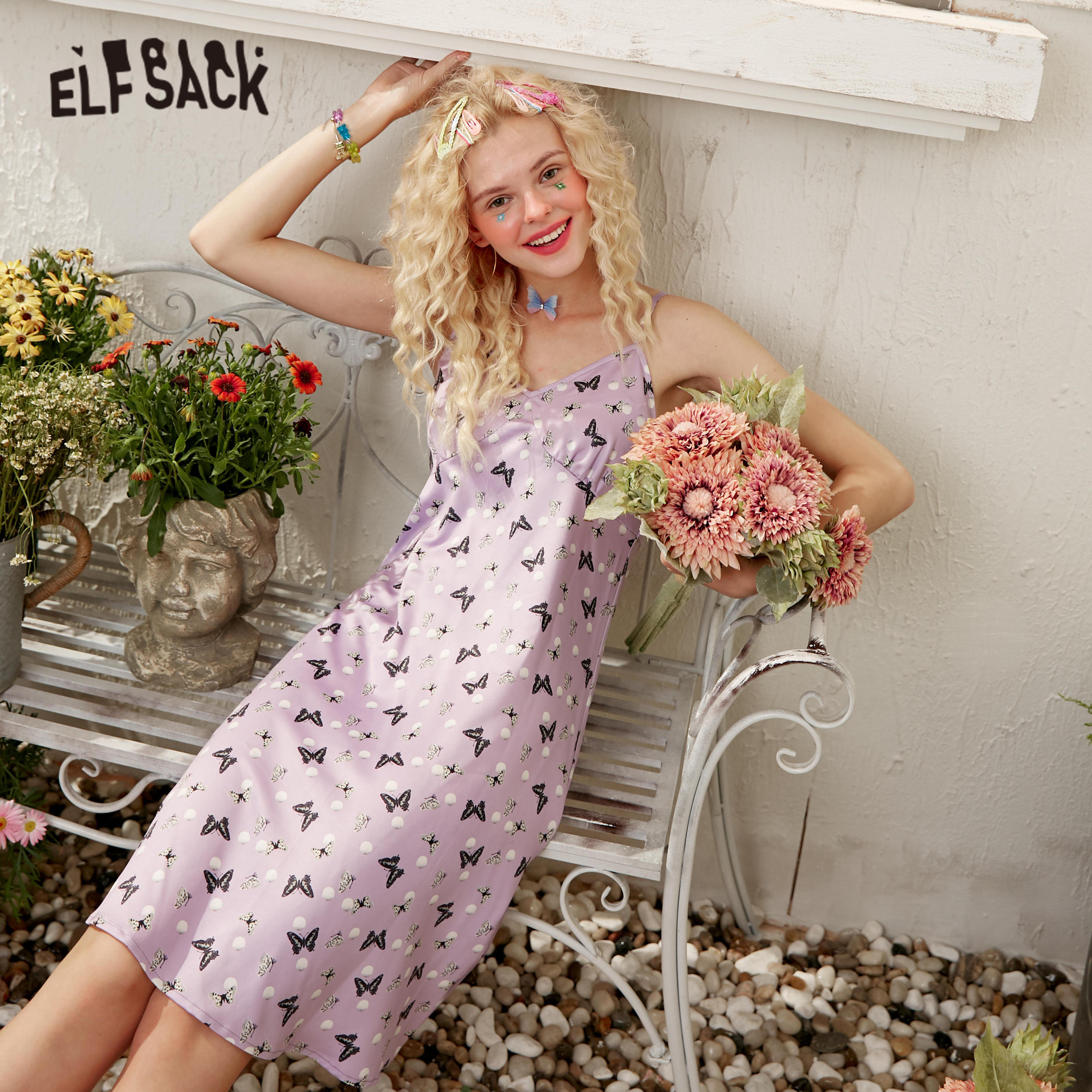 ELFSACK Purple Butterfly Casual Satin Pearl Cami Dress Women 2020 Summer ELF Vintage Cat Graphic Korean Girly Daily Cute Dresses