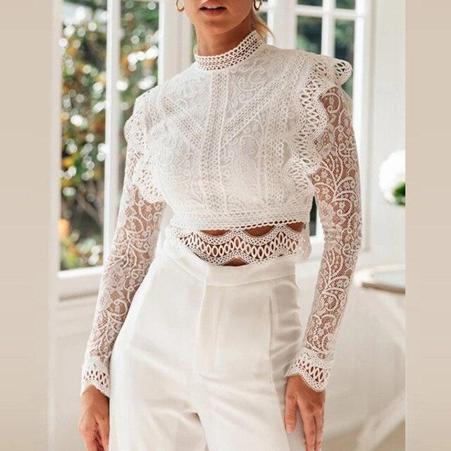 Ordifree 2021 Summer Women White Lace Blouse Short Sexy Tops Long Sleeve Ruffle Blouse Shirt 1
