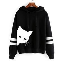 Womens Cat Print Hooded  2019 Fashion Long Sleeve Hoodie Sweatshirt Hooded Pullover Tops Blouse недорого