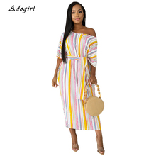 Casual Striped Loose Long Dress Women Elegant Oblique Collar Shorts Batwing Sleeve Bandage Dress Sexy Lace Up Dress Vestidos lace up striped dress