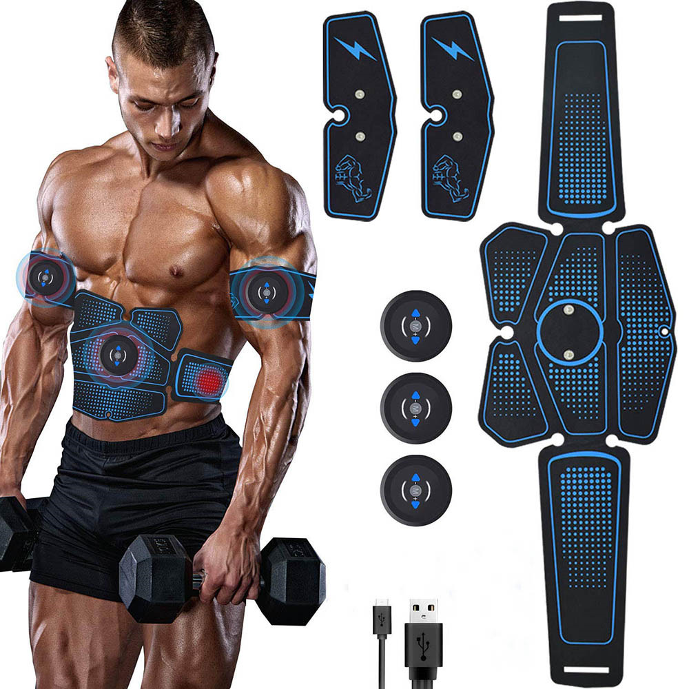 Rechargeable EMS Abdominal Muscle Stimulator Trainer ABS Electrostimulation Fitness Massager Leg Arm Abdomen Muscular Exercise