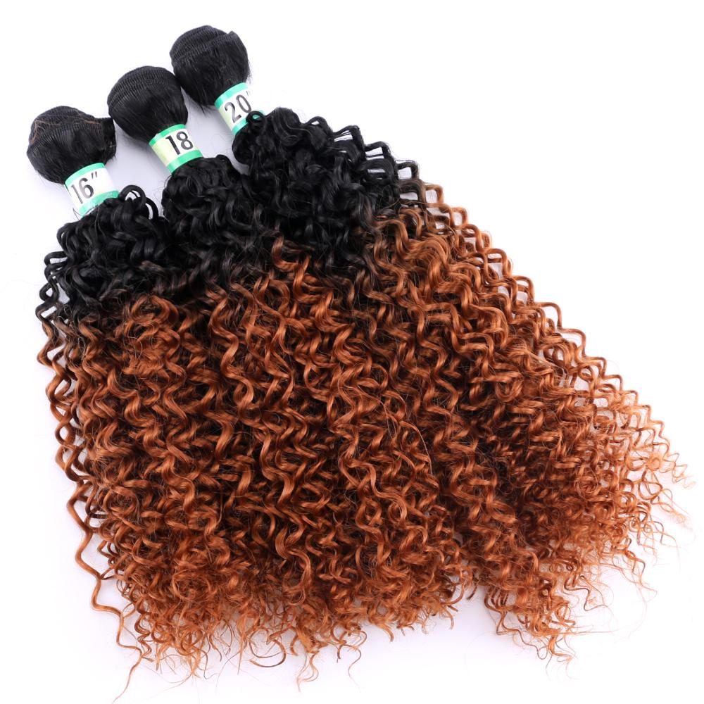 Black To Brown Ombre Color 70g/piece Afro Kinky Curly Hair Bundle High Temperature Synthetic Hair Extension