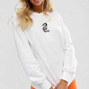 цена на худи толстовка женская hoodie Coat women's Casual Cotton Dragon Totem Print Long Sleeve O-Neck Pullover Jumper Sweatshirt Tops