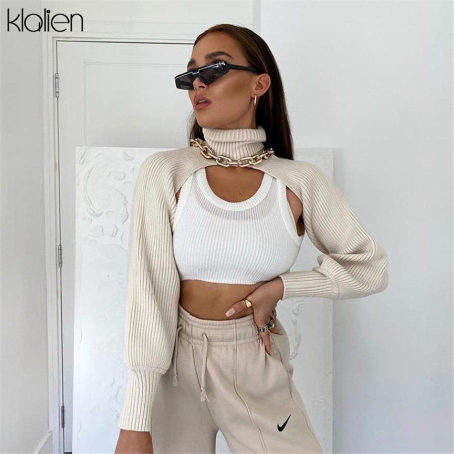 KLALIEN sonbahar kış balıkçı yaka uzun kollu kaburga örme kısa kazak kadın moda basit streetwear ofis bayan ince kazak