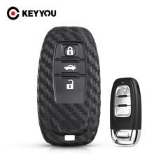 KEYYOU botón 3 funda de silicona para la llave del coche para Audi A6L A4L Q5 A3 A4 B6 B7 B8 A5 A6 S5 S7 A1 A7 A8 Quattro Q3 Q7 cubierta de mando a distancia