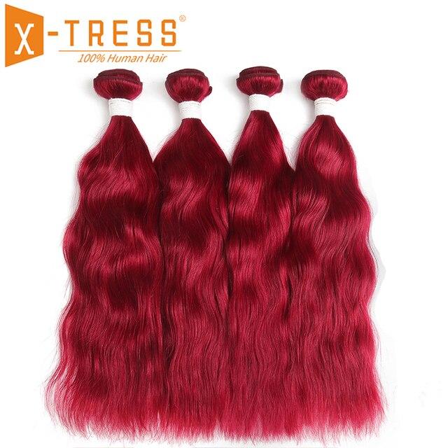 Tissage de cheveux brésilien Non Remy naturel ondulé rouge bordeaux/99J, 3/4 naturel, extension de cheveux humains, tissage en lots de 1/X TRESS