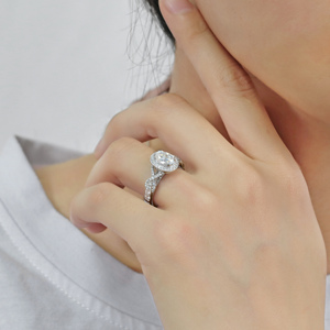 Image 5 - Transgems 14K 585 White Gold Center 2ct 7*9mm Oval Shape F Colorless Engagement Ring for Women Band with Milgrain