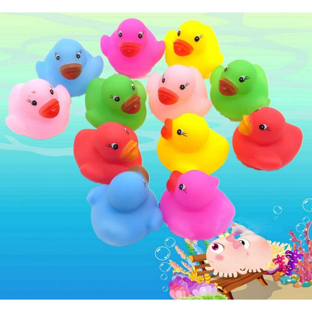 12 шт./партия Kawaii Мини Красочный резиновый плавающий визгливый звук утка детская игрушка для ванны ванная комната водный бассейн забавные игрушки для девочек мальчиков подарки