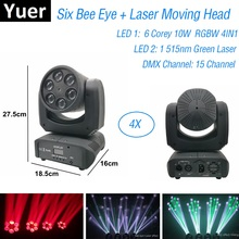цена на 6X10W Moving Head Beam Light RGBW 4IN1 Dj Effect Stage Lighting Green Color Laser Disco Light DMX 512 Controller Discolamp luces