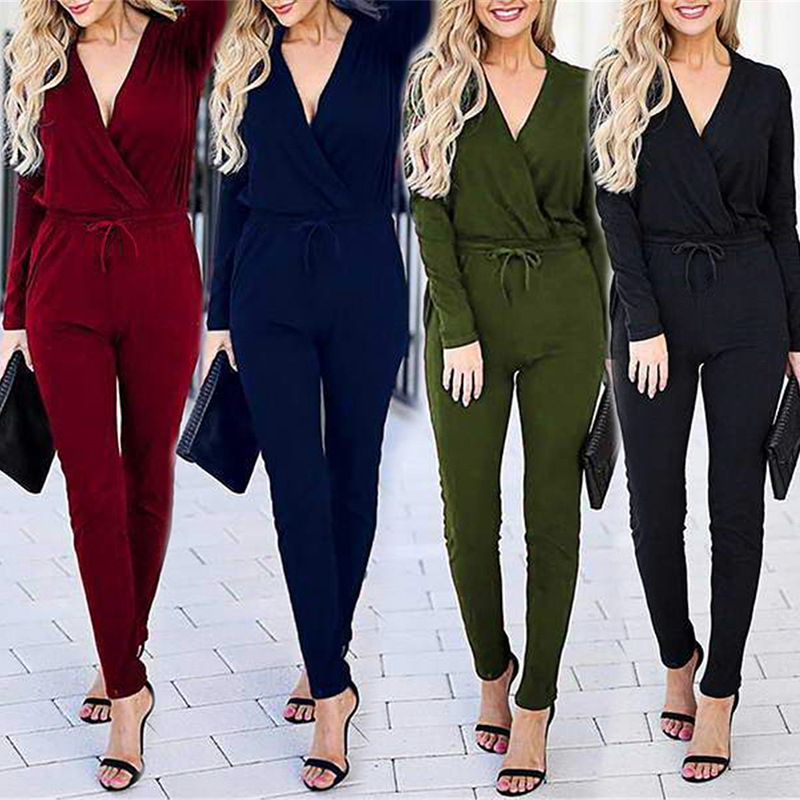 Women Autumn Winter New Sexy V Neck Black Jumpsuit Casual Long-sleeved Trousers Lace Up Office Ladies Overalls Fashion Femme2019