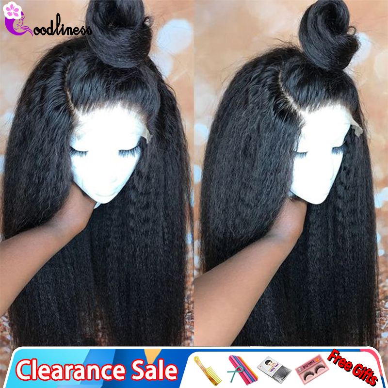 Pre Plucked 13x6 Lace Frontal Human Hair Wigs Bleached Knots Brazilian Kinky Straight Wig Black Transparent Lace Wig Remy 150%