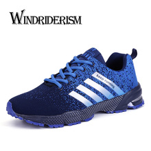 Fashion Sneakers Men Lace-up Running Shoes Breathable Flykni