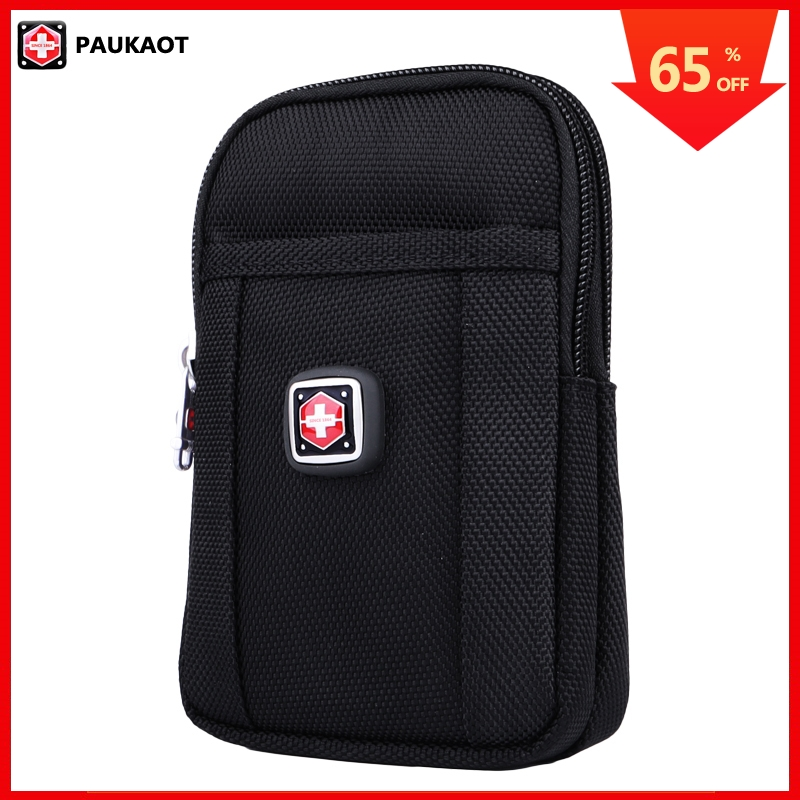 PAUKAOT Men Casual Belt Bags Fanny Pack Bum Hip Waist Packs Phone Pouch Purse Waterproof Black Nylon Mobile Bag Zipper Pockets