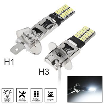 H1 H3 Canbus Super jasne LED żarówki światło przeciwmgielne samochodu reflektorów 4014 24SMD 12V 6000K światła do Auto lampa motocyklowa dla samochodów SUV tanie i dobre opinie movflax NONE CN (pochodzenie) Universal 12 v 6500 k H1 H3 Fog light DRL(Day Running Light)
