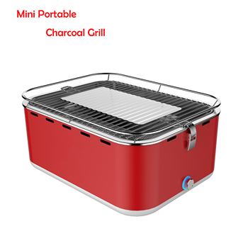 Square Portable Charcoal Grill Table Top Grill Portable Smokeless Grill Ignition of 3-4 Minutes for Barbeque, Outdoor BBQ