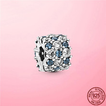 3 Colors CZ Beads 925 Sterling Silver Blue and Clear Sparkle Charm fit Pandora Charms Bracelet Silver 925 Jewelry Making Gift