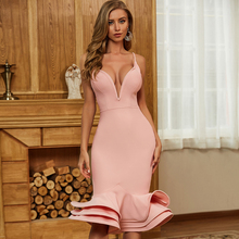 Bandage Dress Celebrity Evening-Runway Pink Bodycon Adyce New Summer Women Spaghetti-Strap