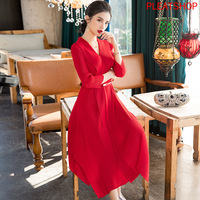 Red Dress 2020 Spring New Women 's Slim Fit Lace up A line MIYAKE pleats dress plus size dress women elegant long dresses