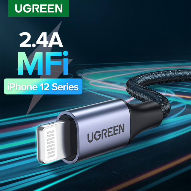 Ugreen MFi USB Cable for iPhone 12 Min 12 Pro Max X XR 11 2.4A Fast Charging Lightning Cable USB Data Cable Phone Charger Cable 1