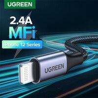 Ugreen-Cable USB MFi para iPhone, Cable Lightning DE CARGA RÁPIDA, 12 Min, 12 Pro, Max, X, XR, 11, 2.4A