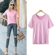 Women T-Shirt Summer Short sleeve Casual multiple colour V-neck top female T shirts