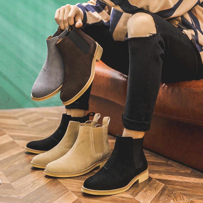 Chelsea stiefel herren Britischen komfort mit leder männer schnee stiefel winter arbeit stil stiefel größe 37- 47 große größe boors männer