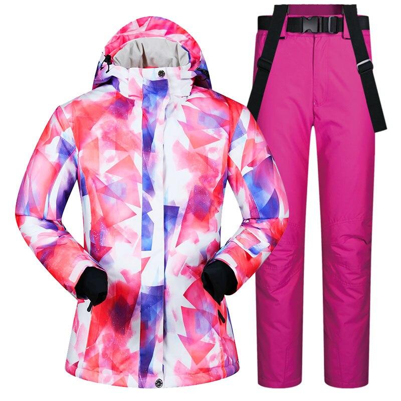 2019 nouveau costume de Ski femmes femme coupe-vent imperméable hiver ensembles veste de neige et pantalon Ski et snowboard costumes marques