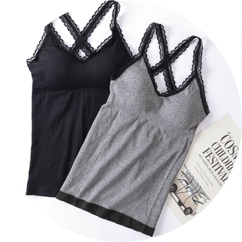 Women Cotton Lace Sexy Cami Top Vest Casual V-neck Female Camisole Padded Bralette Tank Tops flower print double v neck cami top