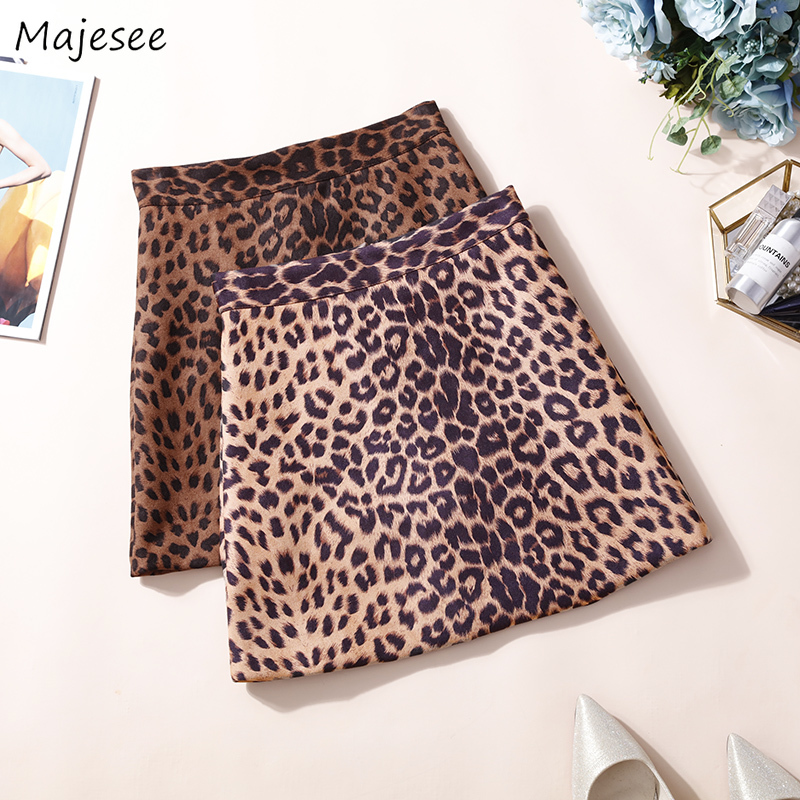Skirts Women Leopard High Waist Sexy Elegant Mini Skirt Womens Harajuku Korean Style Ladies All-match Casual Zipper Fashion Chic