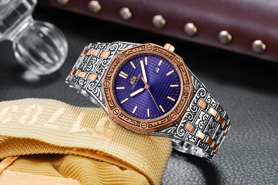 H17c5a2c1d428409baa8d523a4487b0e3f Men Carved Antique Vintage Luminous Rose Gold Yellow Gold Silver 2 Tones Fashion Blue Classic Quartz luxury watch