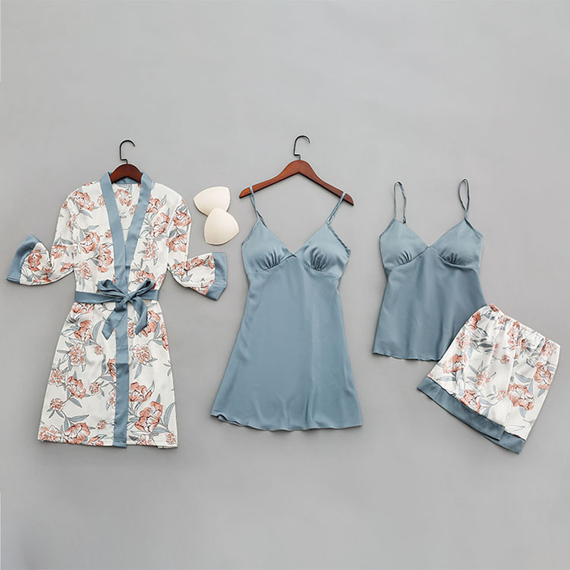QWEEK Summer Sexy Women Pajamas With Chest Pads Fashion Print Silk Women Sleepwear Four-piece Spaghetti Strap Satin Pyjamas