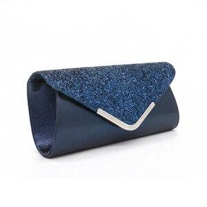 Image 3 - Senhoras sacos de embreagem azul carteira festa saco banquete envelope sacos elegante festa à noite cruz corpo saco preto