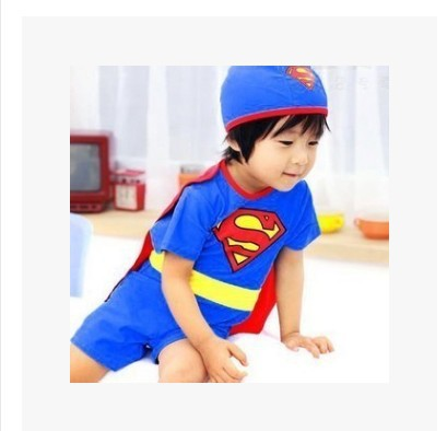 Children Superman Bathing Suit Baby Hot Springs Tour Bathing Suit BOY'S One-piece Large Size UV-Protection Beachwear