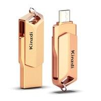 עבור מחשב נייד 2 in1 מתכת OTG USB 2.0 64GB כונן פלאש 32GB זיכרון אחסון Stick U דיסק עבור טלפון OTG Pen Drive עבור מחשב נייד-רוז גולד (2)