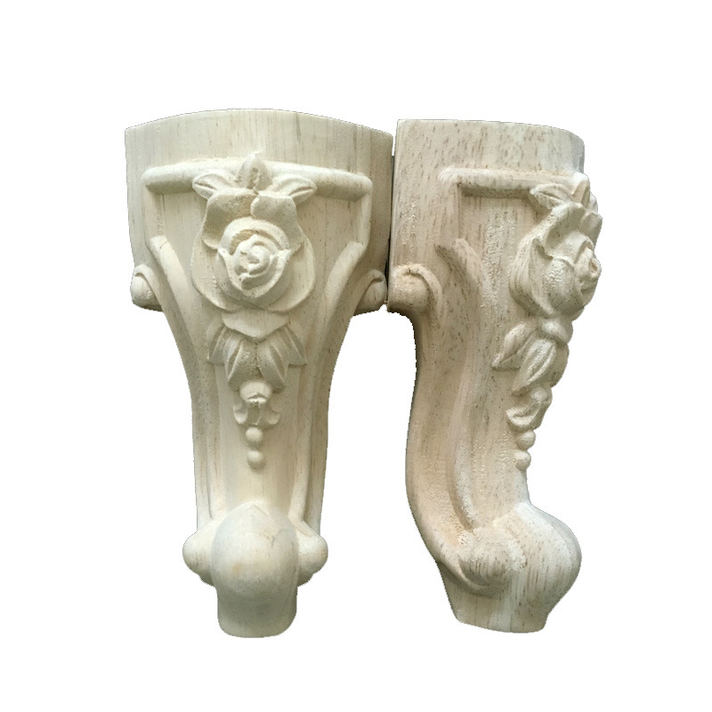 4pcs Wood Carving Rose Table Leg Furniture Dining Table Craft Frame Decoration For Cabinet Table Leg Decoration Carving Foot