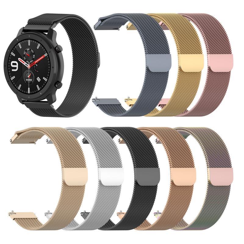 Sport Watchband For Huami Amazfit GTR 42mm Smart Watch Steel Belt Magnetic Watch Strap Milan Loop Smart Wristband Belt 20mm Wide