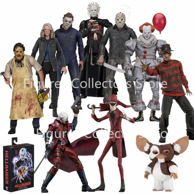재고 있음 NECA 제 13 회 금요일 Jason Gremlins Freddy Krueger Leatherface 전기 톱 Michael Myers IT Pennywise Joker 액션 피규어