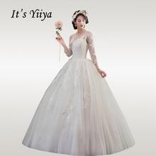It's YiiYa Wedding Dresses Boho Plus Size Wedding Dress 2020 Long Elegant O-neck Three Quarter Sleeve Vestido De Novia HS337