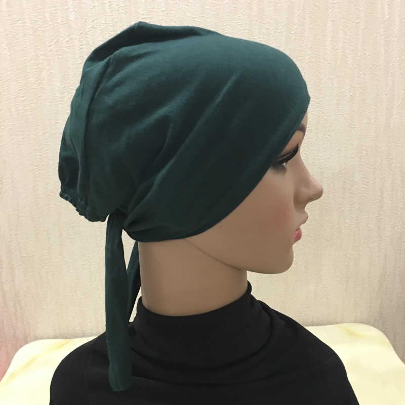 C001 Vari colori di cotone tie indietro underscarf musulmano cappelli fascia cappelli interni islamico piccolo cappelli